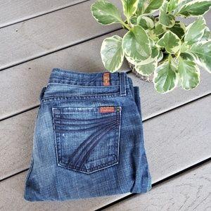 7FAM Medium Wash Black Dojo Wide Leg Flare Jeans